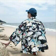 Women Men Japanese Kimono Coat Jacket Panda Harajuku Loose Yukata Outwear