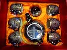 7 tlg. Chinesisches Tee-Service blau/gold/weiß Teekanne mit Deckel + 6 Teetassen