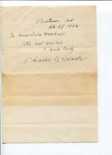 Charles K. Swartz Johns Hopkins Professor Signed Autograph Note