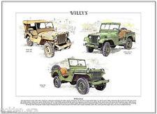 WILLYS JEEP - Fine Art Print - WWII Vietnam Korea MA MB M38A1 models illustrated
