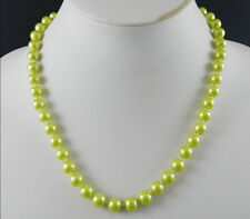 """8mm Olive Green South Sea Shell Pearl Necklace 18"""" AAA+"""