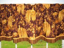 "Gold & Maroon Bird Toile Valance 17"" X 81""  Can Alter Curtain Window Treatment"