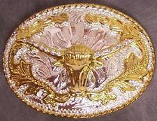 Pewter Belt Buckle animal 2 tone Texas Longhorn Steer Skull NEW