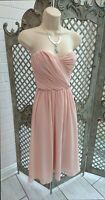 Asos New Blush Chiffon Strapless Fit & Flare Cocktail Occasion Dress UK 16 Party