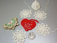 7x Vintage Christmas Lace Window Snowflake Butterfly Heart Bell Hand Embroidery