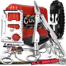 Survival Emergency SOS Kit Multi Tool Fire Starter Paracord Bracelet LIVABIT