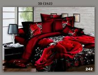 3D Design 4 Pcs Duvet Quilt Cover Sets Fitted Sheet Pillowcases Complete Bedding