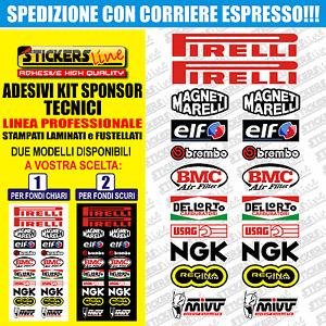 Adesivi kit sponsor tecnici moto 3 (20 loghi) Sbk Honda Ducati Suzuki Yamaha gp