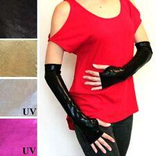 Black Shiny Fingerless Gloves PVC Long Latex Vinyl Wetlook Costume Wet Look M28