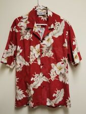 Pacific Legend Hawaiian  Red White Hibiscus Casual Camp Aloha Shirt Size XL