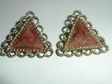 Vintage Gold Tone Pyramid Style Brown-Gold Flecks Clip Earrings