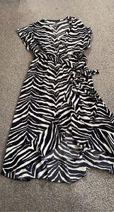 New Look Zebra Print Wrap Dress Size 16