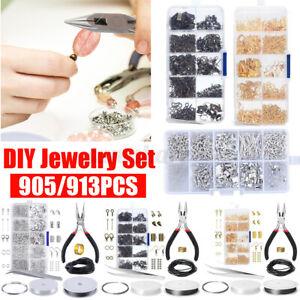 913PCS Earring Jewelry Making Kit Pliers Repair Tool Craft Supplies Starter Set