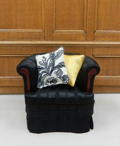 Vintage Bespaq Black Silk Chair With Pillows Dollhouse Miniature 1:12