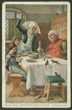 Bruder Grimm - Der Rattenfanger von Hameln - Pied Piper -Vintage German Postcard