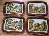 Set Of 4 Vintage Currier & Ives Metal Lap TV Trays