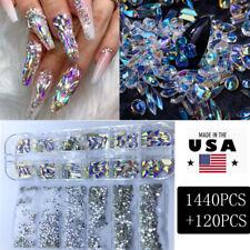 1440+120Pcs Mixed Size Ab Crystal Rhinestone Gems 3D Glitter Nail Art Decoration