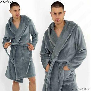 Neuf mens Homme Robe de Chambre Lourd Suggle Polaire à Capuche Salon Extra Chaud