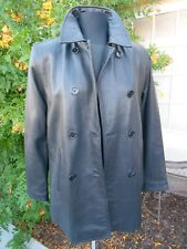 INC INTERNATIONAL CONCEPTS BLACK DOUBLE BREAST GENUINE LAMB LEATHER JACKET COAT