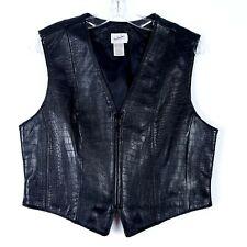 JACQUELINE FERRAR Croc Print Leather Biker Vest Full Zip Black Women's size L