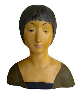 Antique Bust 1920s Flapper, Art Deco, Woman's Head, Life Size, Life-Like.