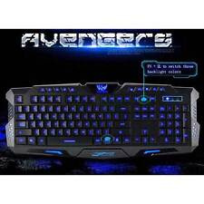 3 colors Crack LED Backlight Multimedia USB Wired Gaming Keyboard PC Universal A