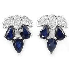 Ohrringe Saphir blau & CZ 925 Silber 585 Weißgold