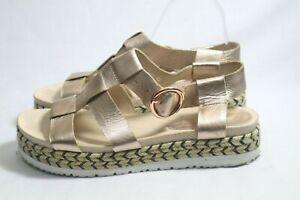 Mollini Size 11 Womens Leather Shimmer Mule Strap Open Toe Espadrille Sandals