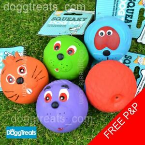 Squeaky Latex Dog Ball Squeaker Good Boy Faceball Dog Face Balls Toy Fetch Puppy