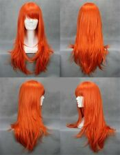 One Piece Anime Nami Perücke wig Haare Cosplay Kostüm Karneval Lang Orange Damen