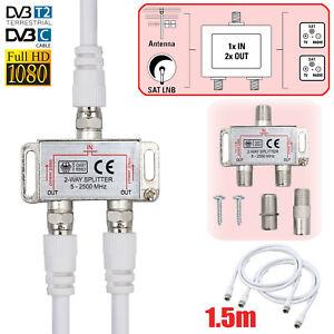 2Fach SAT F-Splitter Antennen Verteiler Weiche Switch FULL 1080 HD TV BK Adapter