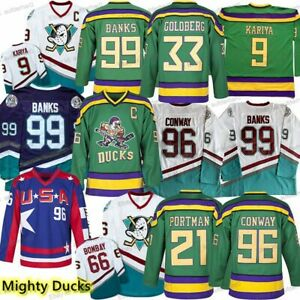 The Mighty Ducks Charlie Conway#96 #99 #21 #33 #66 #9 All Numbers Hockey Jersey