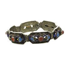 Ancien finname Bracelet-Argent-Emaux et cornaline-Chine
