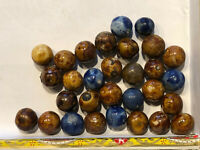 Collection Of 30 Bennington Clay Marbles - Pee Wee Size & Different Colors