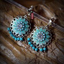 Boucles d'Oreilles Clips Doré Creux Tassel Mini Perle Turquoise Vert Retro E6