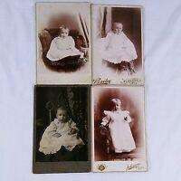 Vintage Cabinet Card Photographs Studio Babies Infant Children Families Lot Of 4