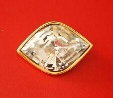 broche pins YVES SAINT LAURENT gros strass en verre et métal doré