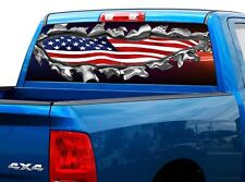 3dca948c36 P469 American Flag Rear Window Tint Graphic Decal Wrap Back Truck Tailgate