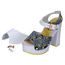 scarpe donna SUKY BRAND 37 sandali blu ( bianco ) tessuto vernice AC487-C