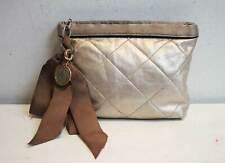 Lanvin Amalia Quilted Leather Clutch Bag Metallic Beige
