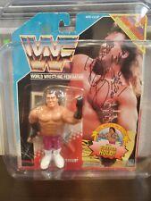"WWF Hasbro Brutus ""The Barber"" Beefcake Series 1 Autographed Blue  Card"
