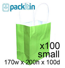 x100 LIME GREEN paper gift CARRY tote party BAGS handles SMALL (170x200mm) BULK