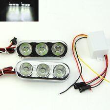 2 Pcs White Light 3 LED DC 12V Strobe Brake Lamps Decoration for Motorcycle