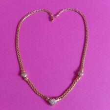 ~ Wert 1350 Euro 585 Gelbgold Collier Kette 3 Herzchen besetzt mit 12 Diamanten
