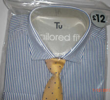 "Sainsburys Tailored Fit blue/White stripe Shirt & Tie Set Size 14.5""   BNIP"