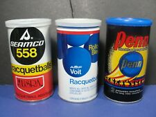 (3) Nos Vintage Cans Racquetballs Seamco 558, Amf Voit, & Penn Still Sealed