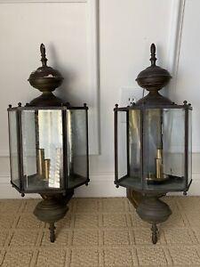 Set of 2 Vintage Outdoor Colonial Porch Wall Light Sconce Lanterns Original