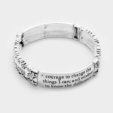 Serenity Prayer Bracelet Stretch Bangle AA God Grant me the Courage ANTQ SILVER