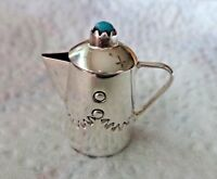 Sterling Silver Turquoise Miniature movable lid 21mm Coffee Pot Handcraft Navajo