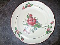 ancienne assiette en faïence APREY-décor fleurs-XIX ème-diamètre 23 cms